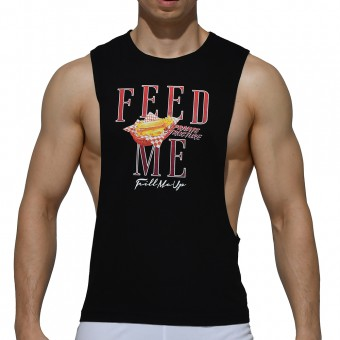 Dropped Armhole Sleeveless Tee - Hotdog Black [4128]