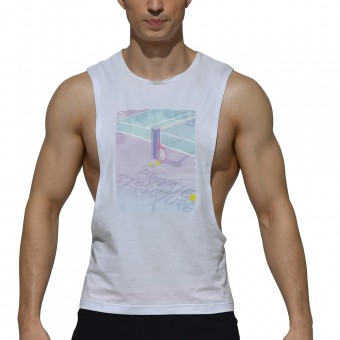 Dropped Armhole Sleeveless Tee - Tennis White [4128]